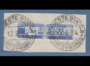 Triest Zone A 1948 Paketmarke 1000 Lire Mi.-Nr. 26 gestempelt auf Briefstück