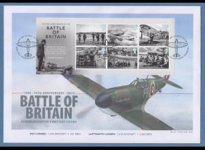 Großbritannien 2015 Luftschlacht um England Mi.-Nr. Block 94 auf Souvenir-FDC