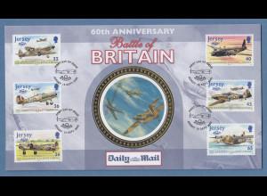 Jersey 2000 Luftschlacht um England Mi.-Nr. 951-56 auf illustriertem FDC