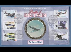 Guernsey 2000 Luftschlacht um England Mi.-Nr. 845-50 auf illustriertem FDC