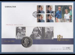 Gibraltar 2000 Prinz William 18.Geburtstag Scmuckbrief m. PP-Gedenkmünze 1 Crown