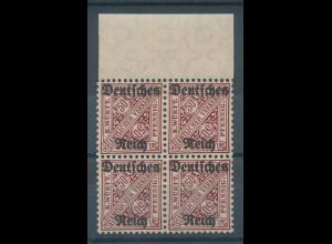Deutsches Reich Dienstmarke Mi.-Nr. 63 Oberrand-Viererblock **