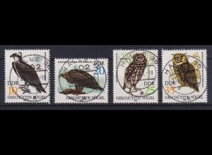 DDR 1982 Geschützte Greifvögel Mi.-Nr. 2702-2705 echt gestempelt HALLE