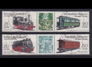 DDR 1983 Schmalspurbahnen Mi.-Nr. 2792-2795, zwei 3er-Streifen, gestempelt HALLE