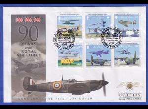 Isle of Man 2008 90 Jahre Royal Air Force Mi.-Nr. 1415-1420 auf Souvenir-FDC