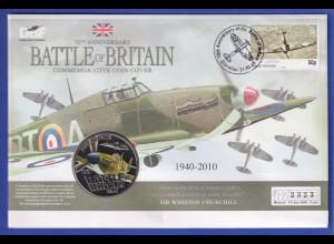 Gibraltar 2010 Battle of Britain Hurricane illustrierter Souvenir-FDC mit Münze