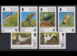 Pitcairn Islands Tropische Vögel WWF Mi.-Nr. 487-492 postfrisch **