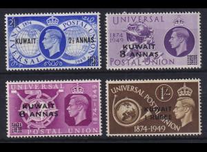 Kuwait 1949 Weltpostverein mit Aufdruck Mi.-Nr. 81-84 postfrisch **
