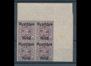 Deutsches Reich Dienstmarke Mi.-Nr. 59 Eckrand-Viererblock oben rechts **