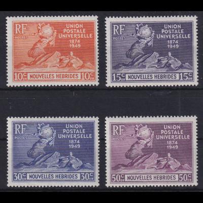 Neue Hebriden 1949 Weltpostverein, frz. Ausgabe Mi.-Nr. 137-140 postfrisch **