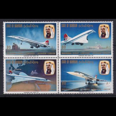 Bahrain 1976 Erster Linienflug der Concorde Mi.-Nr. 248-251 4er-Block postfr. **