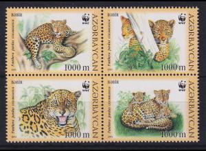 Aserbaidschan 2005 WWF Leoparden Mi.-Nr. 592-595 4er-Block postfrisch **