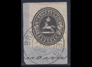 BRAUNSCHWEIG 1865 ½ Gr schwarz Mi.-Nr. 17 O auf Briefstück, gepr. BRETTL BPP