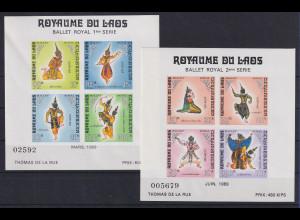 Laos 1969 Königliches Ballett Mi.-Nr. Block 47 II und 48 postfrisch **