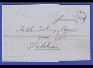 Schweiz Brief mit Rundstempel ALTSTETTEN 1861