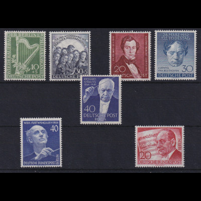 Berlin 1950/56 Musik-Lot Mi.-Nr.72-73, 74, 87, 124, 128, 156 postfrisch**