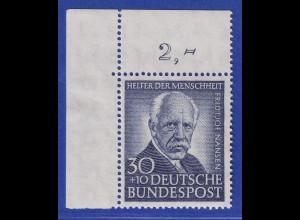 Bundesrepublik 1953 Wohlfahrt 30 Pfg Nansen Mi-Nr. 176 Eckrandstück OL **