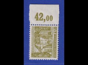Berlin 1954 Freimarke 70 Pfg Schloss Grunewald Mi-Nr.123 Seitenrandstück mit RWZ