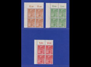Berlin 1952 Vorolympische Festtage Mi-Nr. 88-90 Eckrandviererblocks OL **