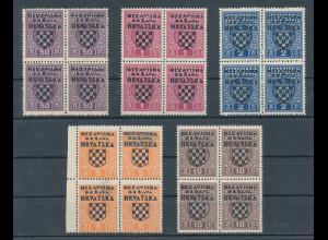 Kroatien / Hrvatska , 1941 Portomarken Mi-Nr 1-5 ** in 4er-Blocks