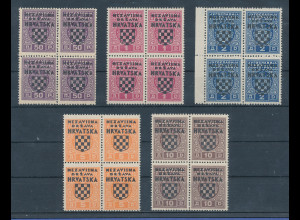 Kroatien / Hrvatska , 1941 Portomarken-Satz Mi.-Nr. 1-5 ** in 4er-Blocks