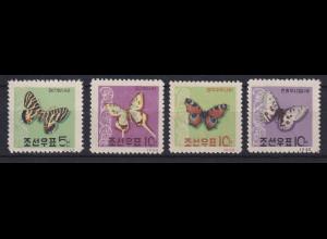 Korea Nord 1962 Schmetterlinge Mi.-Nr. 380-383 ungebraucht (*)