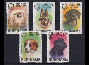 Suriname 1976 Hunde Mi.-Nr. 738-742 postfrisch **