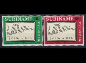 Suriname 1976 200 Jahre USA Mi.-Nr. 736-737 postfrisch **