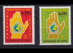 Kongo Zaire 1973 50 Jahre Interpol Mi.-Nr. 482-483 postfrisch **
