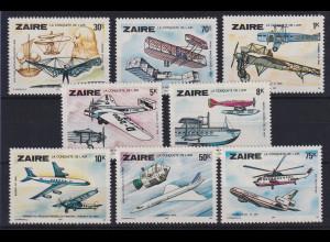 Kongo Zaire 1978 Entwicklung der Luftfahrt Flugzeuge Mi.-Nr. 580-587 **