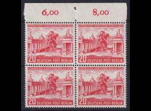 Berlin 1954 Viermächte-Konferenz Mi.-Nr. 116 Oberrandviererblock postfrisch **