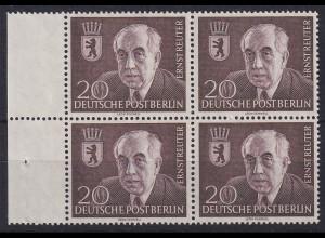 Berlin 1954 Ernst Reuter, Mi.-Nr. 115 Seitenrandviererblock postfrisch **