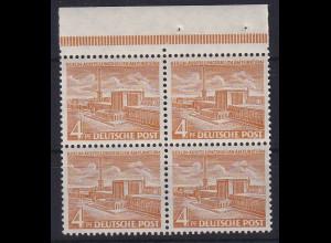 Berlin 1953 Ausstellungshallen 4 Pf Mi.-Nr. 112 Oberrandviererblock **