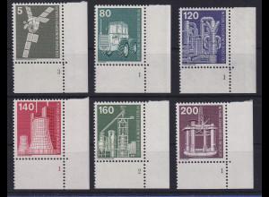 Berlin 1975 Industrie und Technik 6 Werte alles Eckrandstücke UR Formnummern **
