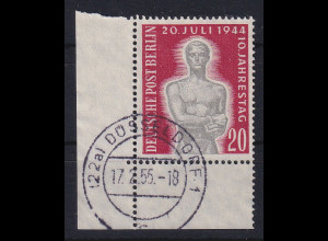 Berlin 1954 20. Juli Gedenken Mi.-Nr. 119 Eckrandstück UL gestempelt