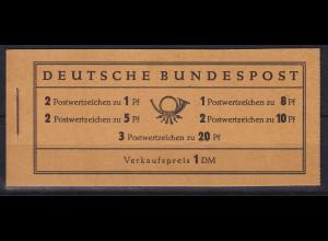 Bundesrepublik 1958 Markenheftchen Heuss und Ziffer Mi.-Nr. MH 4 X v **