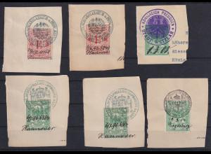 Altdeutschland Preußen Lot 6 Stempelmarken, abgestempelt u. schriftlich datiert