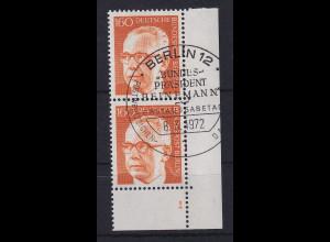 Berlin 1972 G. Heinemann Mi.-Nr. 396 Ecke mit Formnummer 1, Ersttags-O
