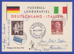 Fußballspiel Deutschland-Italien Stuttgart Neckar-Stadion 30.3.55 Souvenirkarte