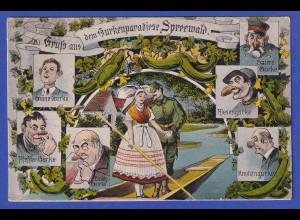 AK Gurkenparadies Spreewald humoristisch, gelaufen 1925