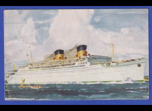 AK Luxusliner Mariposa, gelaufen 1939 von Pago-Pago auf Samoa nach München