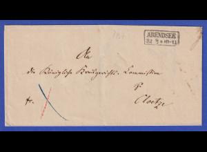 Preußen Dienstbrief mit Kasten-Stempel ARENDSEE 1867