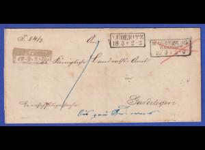 Preußen Dienstbrief mit Kasten-Stempel LÜDERITZ und MAGDEBURG BAHNHOF