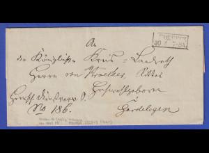 Preußen Dienstbrief mit Kasten-Stempel LÜDERITZ um 1845