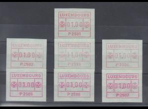 Luxemburg FRAMA-ATM 1.Ausgabe alle Aut.-Nr. P2501-P2507 , Mi.-Nr. 1.1 - 1.7 kpl.