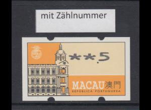 Macau 1993 Nagler-ATM Hauptpostamt, Mi.-Nr. 1.2 ** mit Zählnummer