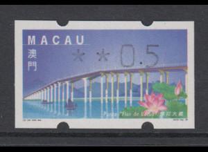 Macau 1999 Klüssendorf-ATM Lotusblumen-Brücke, Mi.-Nr. 2.1 **