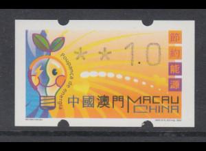 Macau 2002 Klüssendorf-ATM Energiesparen, Mi.-Nr. 4.1 **