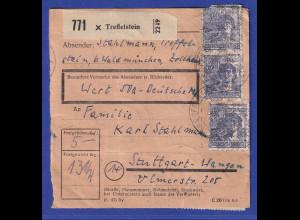 Währungsreform 1948 Paketkarte mit MIF 10-fach / DM-Posthörnchen 22.6.1948