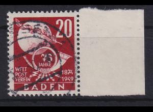 Französische Zone Baden UPU 20Pfg. Mi.-Nr. 56 gestempelt Seitenrandstück.